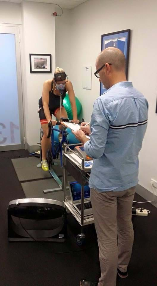 Dr Simon Sostaric, Exercise Physiologist & Sport Scientist, conducting a VO2max test. Key metrics include oxygen consumption; heart rate training zones; metabolic economy