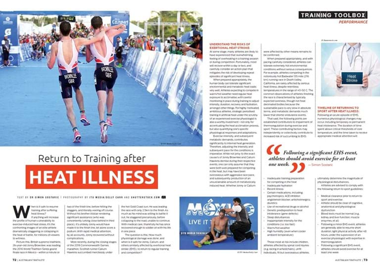 Athletes and heat stress, at Melbourne Sports & Allied health Clinic